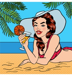 Tropical Paradise Woman with Cocktail Pin Up Girl vector image vector image