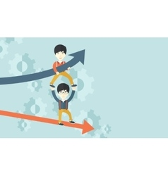 Two aisan guy in two arrows going up and down vector