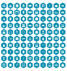 100 bakery icons sapphirine violet vector image vector image