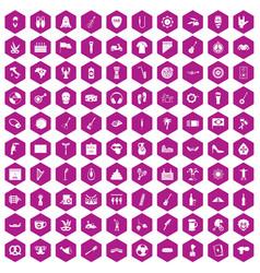 100 street festival icons hexagon violet vector