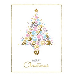 Merry christmas pine tree card design in gold vector image