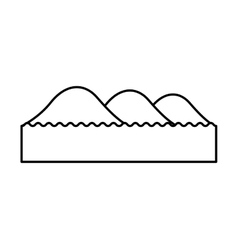 Mountain with lake emblem isolated icon vector