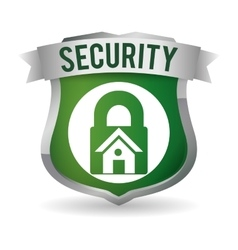 Home security padlock system badge vector