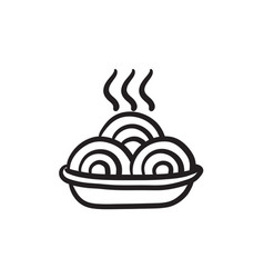 Hot meal in plate sketch icon vector