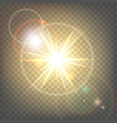 heat sun with glare lens flare vector image