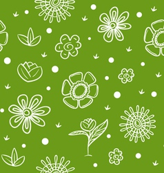 Spring green background with flowers vector