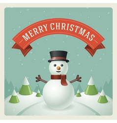 Merry christmas greeting card with snowman vector