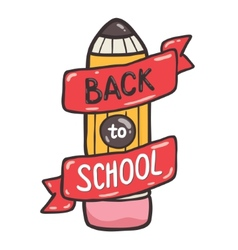 Cute school pencil with ribbon back to school vector