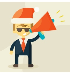 Young businessman with a megaphone and Christmas vector image