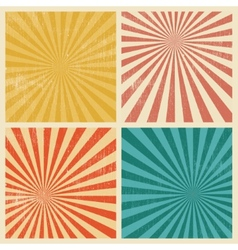 Sunburst retro textured grunge background set vector