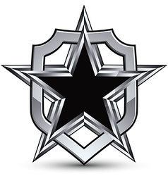 Celebrative silver emblem with black pentagonal vector