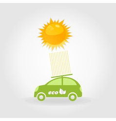 Car on solar batteries vector