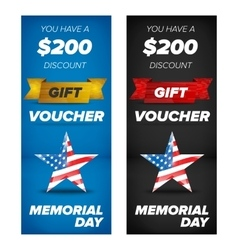 Gift voucher design Memorial day sale vector image