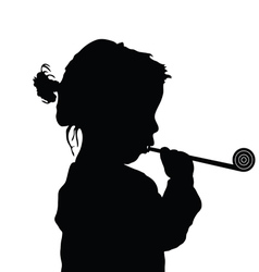 Child sweet playing silhouette vector
