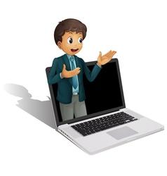 Laptop businessman vector