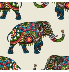 Ethnic indian elephant colored seamless background vector