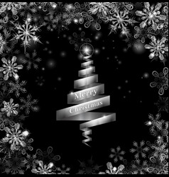 abstract silver ribbon christmas tree vector image vector image