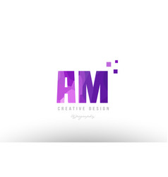 Am a m pink alphabet letter logo combination with vector