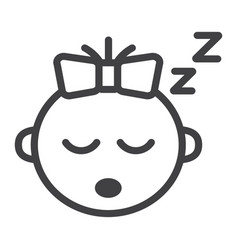 baby girl sleep line icon child and infant vector image vector image