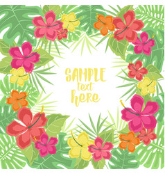Background with tropical flowers vector