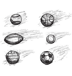 Ball sketch set with shadow and dynamic effect vector image