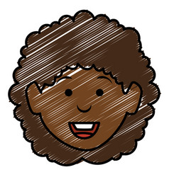 Black beautiful woman head avatar character vector