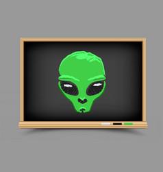 blackboard alien lesson vector image
