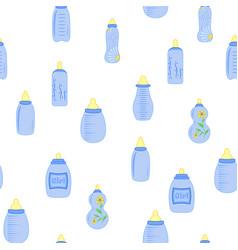 Bottle baby seamless pattern for children boy vector