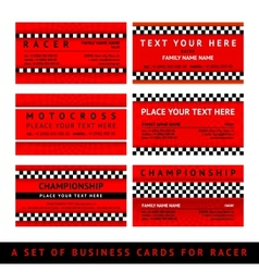 Business card driver race - fourth set vector image vector image