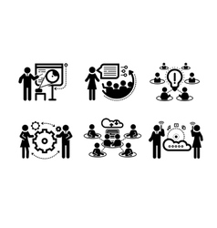 Business presentation teamwork concept icons vector image