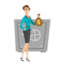 Caucasian business woman holding a money bag vector