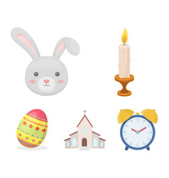 Church candle easter bunny and painted egg vector