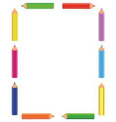 colorful pencils frame vector image vector image
