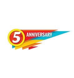 Creative emblem five years anniversary vector
