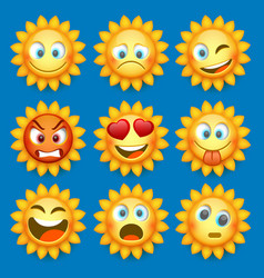 Emoji sun and sad icon set vector