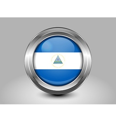 Flag of nicaragua metal and glass round icon vector