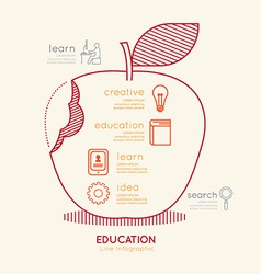 Flat linear infographic education apple outline vector