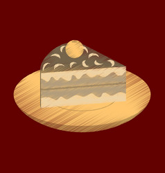 flat shading style icon berry pie on a plate vector image