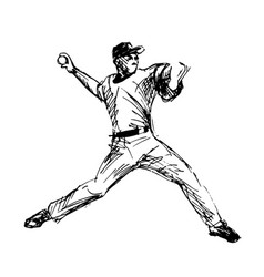 Hand sketch baseball player vector