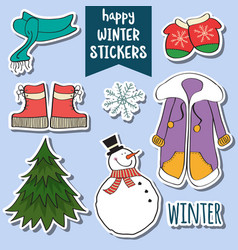 happy winter stickers collection vector image vector image