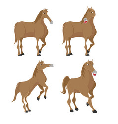Horse brown animal character set vector