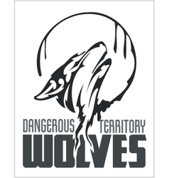 Howling Wolf emblem - dangerous territory vector image