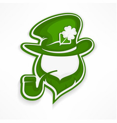 Leprechaun with pipe on white vector