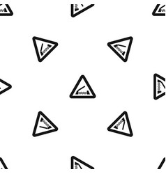 lifting bridge warning sign pattern seamless black vector image vector image