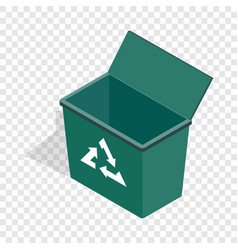 Open garbage container with recycling sign icon vector