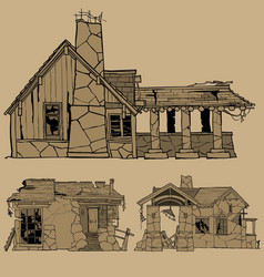 Painted monochrome sketches of destroyed stone vector