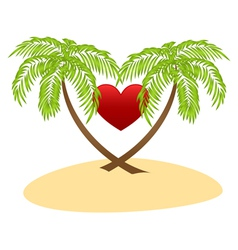 palms and red heart vector image