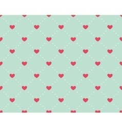 Seamless pattern of hearts on a light green vector image vector image