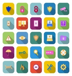 Security color icons with long shadow vector