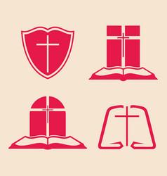 Set of logos for the church vector
